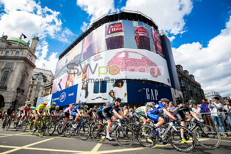 Picture by Alex Whitehead/SWpix.com - 11/06/2017 - Cycling - OVO Energy Women's Tour - Stage 4: The London Stage - The peloton travel through Piccadilly Circus.