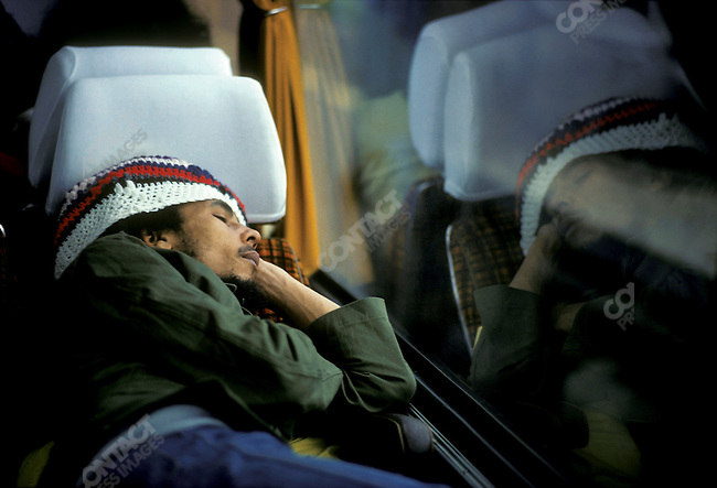 Bob Marley and The Wailers on thier tour bus during their Exodus Tour in Europe.  May 11, 1977.