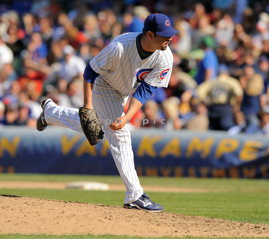 JOHN GRABOW, of the Chicago Cubs, in action during the Cubs  game against the Milwaukee Brewers on August 16, 2009 in Chicago, IL. The Brewers beat the Cubs 9-5 ...