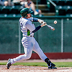 3 September 2018: Vermont Lake Monsters catcher Jose Rivas hits a 3-run homer in the first inning to give the Lake Monsters an 8-0 lead against the Tri-City ValleyCats at Centennial Field in Burlington, Vermont. The Lake Monsters defeated the ValleyCats 9-6 in the last game of the 2018 NY Penn League regular season. Mandatory Credit: Ed Wolfstein Photo *** RAW (NEF) Image File Available ***