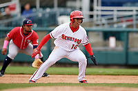 Harrisburg Senators left fielder Juan Soto (10) leads off first base during the first game of a doubleheader against the New Hampshire Fisher Cats on May 13, 2018 at FNB Field in Harrisburg, Pennsylvania.  New Hampshire defeated Harrisburg 6-1.  (Mike Janes/Four Seam Images)