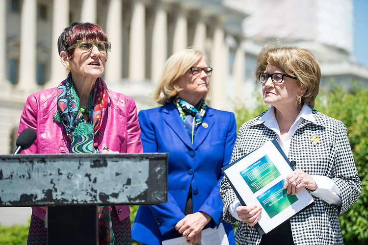 WASHINGTON, DC - MAY 14: From left, Rep. Rosa DeLauro, D-Conn., Rep. Chellie Pingree, D-Maine, and Rep. Louise Slaughter, D-N.Y., hold a news conference at the House Triangle to call for the release of the food safety chapter of the Trans-Pacific Partnership on Thursday, May 14, 2015. (Photo By Bill Clark/CQ Roll Call)