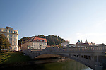 Slovenia, Ljubljana, Dragon Bridge, old town, Baroque architecture, Europe,