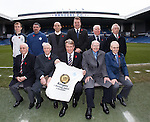 Rangers promote the 140 year anniversary of the founding of the football club:.Robbie Crawford, Charlie Miller, Alex Rae, Derek Johnstone, Alex McDonald, Willie Johnston with Willie Henderson, Ian McMillan, Sandy Jardine, Andy Bain and Davie Wilson. Supporter Andy Bain has only missed three Rangers games since 1934.