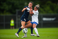 Sky Blue FC defender Caitlin Foord (4) and Boston Breakers forward Kyah Simon (17) battle for the ball. Sky Blue FC and the Boston Breakers played to a 0-0 tie during a National Women's Soccer League (NWSL) match at Yurcak Field in Piscataway, NJ, on July 13, 2013.