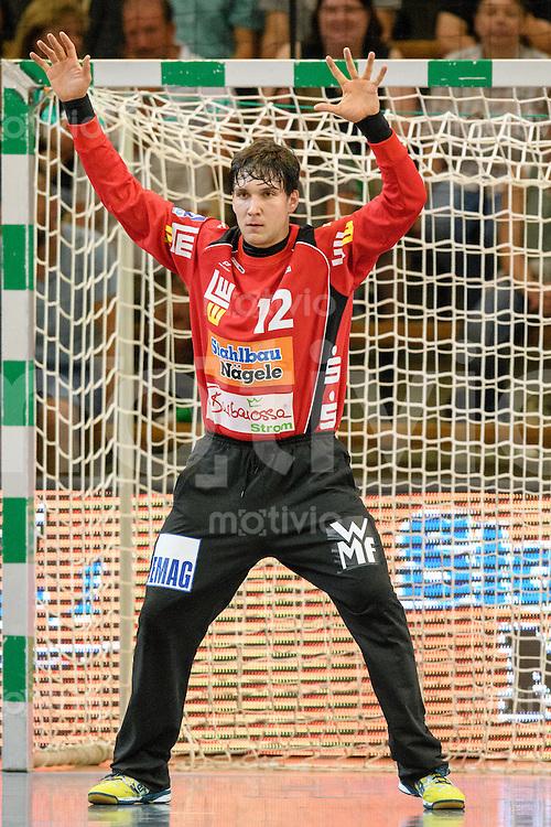 Daniel Rebmann (FAG) mit einer Parade im Tor beim Siebenmeter