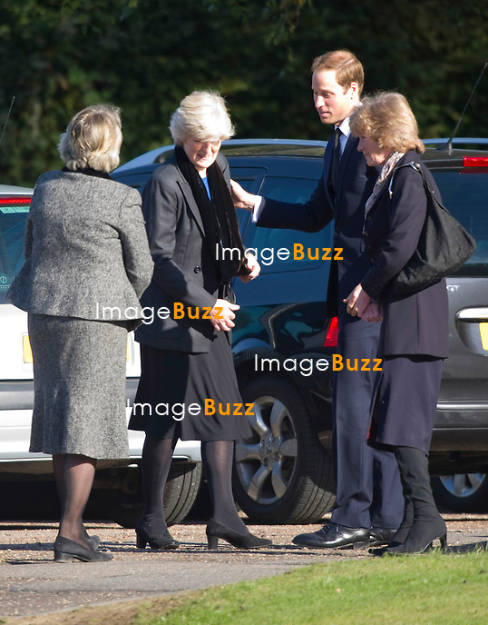 PRINCE WILLIAM.attends the funeral of his nanny Olga Powell, who died recently at the age of 82-years old. The service was held at Parndon Wood Crematorium, Harlow, Essex.Princess Diana's sisters Lady Jane Fellowes and Lady sarah McCorquodale were also present. 10/10/2012.