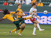LA Galaxy Def Ugo Ihemelu clears a ball. LA Galaxy defeated New York 1-0 during a MLS game at The Home Depot Center in Carson, California, Tuesday July 4, 2006.