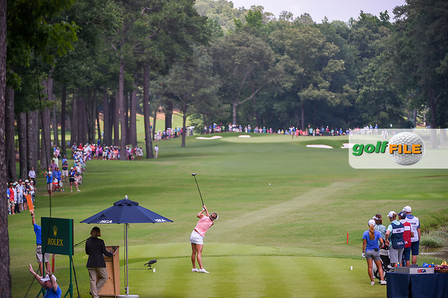 Lexi Thompson (USA) watches her tee shot on 10 during round 3 of the U.S. Women's Open Championship, Shoal Creek Country Club, at Birmingham, Alabama, USA. 6/2/2018.<br /> Picture: Golffile   Ken Murray<br /> <br /> All photo usage must carry mandatory copyright credit (© Golffile   Ken Murray)