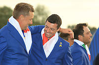 Rory McIlroy on the 18th green after Team Europe win the 2018 Ryder Cup at Le Golf National, Ile-de-France, France. 30/09/2018.<br /> Picture Thos Caffrey / Golffile.ie<br /> <br /> All photo usage must carry mandatory copyright credit (© Golffile | Thos Caffrey)