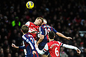 Jonathan Walters of Stoke City vies for the ball with a player of Arsenal during the  English Premier League soccer match between Arsenal and Stoke City in London,UK,02 February  2012.THOMAS CAMPEAN/Pixel8000 Ltd...