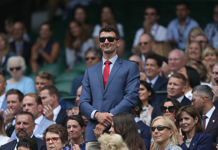 Former Olympic sailor Giles Scott is introduced to the Centre Court crowd<br /> <br /> Photographer Rob Newell/CameraSport<br /> <br /> Wimbledon Lawn Tennis Championships - Day 6 - Saturday 6th July 2019 -  All England Lawn Tennis and Croquet Club - Wimbledon - London - England<br /> <br /> World Copyright © 2019 CameraSport. All rights reserved. 43 Linden Ave. Countesthorpe. Leicester. England. LE8 5PG - Tel: +44 (0) 116 277 4147 - admin@camerasport.com - www.camerasport.com
