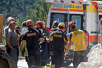 vigili del fuoco al lavoro. Firefighters at work <br /> Accumoli ( Rieti ) 24-08-2018 <br /> Central Italy was struck by a earthquake of 6.2 magnitude during the early hours if August 24 2016 <br /> Foto Samantha Zucchi/Insidefoto