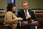 Nevada Assembly members Stephanie Smith and Kyle Stephens talk on the Assembly floor during a special session at the Legislative Building in Carson City, Nev. on Thursday, Oct. 13, 2016. Cathleen Allison/Las Vegas Review-Journal