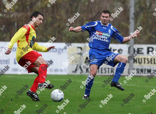 2009-11-29 / Voetbal / seizoen 2009-2010 / Bornem - Ol. Wijgmaal / Jelle De Wilde (L, Bornem) met Thiry..foto: mpics