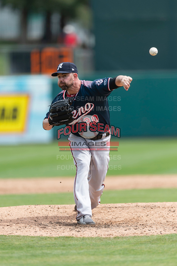Reno Aces relief pitcher Marc Rzepczynski (30) pitching during a game against the Fresno Grizzlies at Chukchansi Park on April 8, 2019 in Fresno, California. Fresno defeated Reno 7-6. (Zachary Lucy/Four Seam Images)