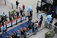 Manchester City manager Josep Guardiola greets the waiting fans as he arrives at The Etihad ahead of kick-off<br /> <br /> Photographer Rich Linley/CameraSport<br /> <br /> UEFA Champions League - Quarter-finals 2nd Leg - Manchester City v Tottenham Hotspur - Wednesday April 17th 2019 - The Etihad - Manchester<br />  <br /> World Copyright © 2018 CameraSport. All rights reserved. 43 Linden Ave. Countesthorpe. Leicester. England. LE8 5PG - Tel: +44 (0) 116 277 4147 - admin@camerasport.com - www.camerasport.com