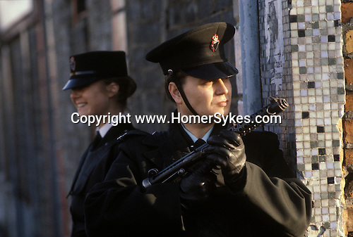 Ireland The Troubles. Belfast 1980s. Armed RUC officers