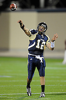 22 November 2008:  FIU quarterback Paul McCall (12) throws a touchdown pass to Greg Ellingson in the ULM 31-27 victory over FIU at FIU Stadium in Miami, Florida.