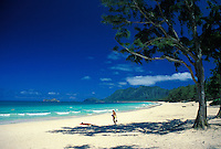 Waimanalo Beach's white sands and warm blue waters are inviting to all.  Windward Oahu.