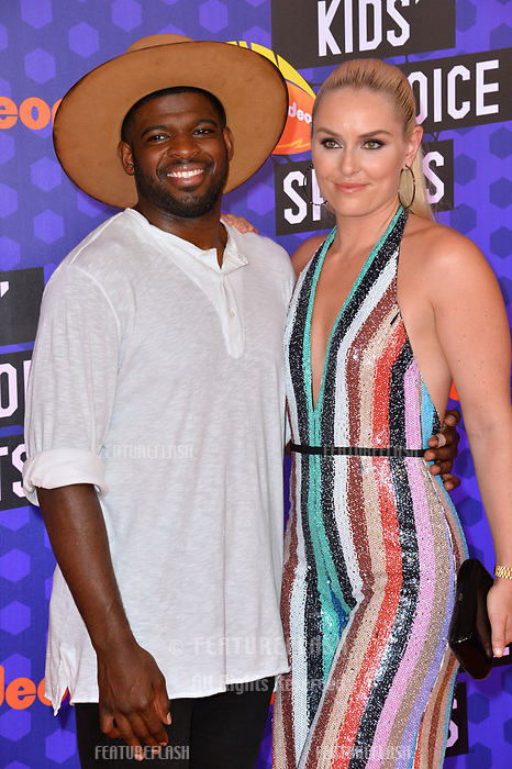Lindsey Vonn & P.K. Subban at the Nickelodeon Kids' Choice Sports Awards 2018 at Barker Hangar, Santa Monica, USA 19 July 2018<br /> Picture: Paul Smith/Featureflash/SilverHub 0208 004 5359 sales@silverhubmedia.com