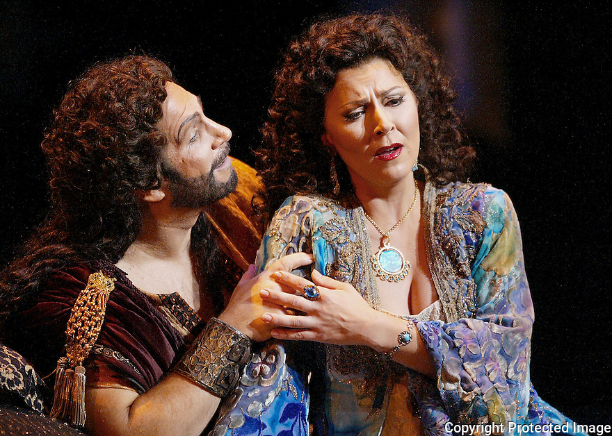 Allan Glassman as Samson and Milena Kitic as Delilah in Opera Pacific's production of Samson and Delilah.  2-20-05.