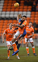 Blackpool's Curtis Tilt is elbowed out of the way<br /> <br /> Photographer Dave Howarth/CameraSport<br /> <br /> The EFL Sky Bet League One - Blackpool v Wycombe Wanderers - Tuesday 29th January 2019 - Bloomfield Road - Blackpool<br /> <br /> World Copyright © 2019 CameraSport. All rights reserved. 43 Linden Ave. Countesthorpe. Leicester. England. LE8 5PG - Tel: +44 (0) 116 277 4147 - admin@camerasport.com - www.camerasport.com