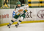 15 November 2015: University of Vermont Catamount Defenseman Alexx Privitera, a Senior from Old Tappan, NJ, in action against the University of Massachusetts Minutemen at Gutterson Fieldhouse in Burlington, Vermont. The Minutemen rallied from a three goal deficit to tie the game 3-3 in their Hockey East matchup. Mandatory Credit: Ed Wolfstein Photo *** RAW (NEF) Image File Available ***