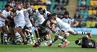 Northampton Saints's Cobus Reinach is tackled by Clermont Auvergne's Arthur Iturria<br /> <br /> Photographer Stephen White/CameraSport<br /> <br /> European Rugby Challenge Cup - Northampton Saints v Clermont Auvergne - Saturday 13th October 2018 - Franklin's Gardens - Northampton<br /> <br /> World Copyright © 2018 CameraSport. All rights reserved. 43 Linden Ave. Countesthorpe. Leicester. England. LE8 5PG - Tel: +44 (0) 116 277 4147 - admin@camerasport.com - www.camerasport.com