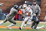 Wisconsin Badgers running back Rachid Ibrahim (9) carries the ball during an NCAA College Big Ten Conference football game against the Illinois Fighting Illini Saturday, October 28, 2017, in Champaign, Illinois. The Badgers won 24-10. (Photo by David Stluka)