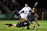 Levi Douglas of Bath Rugby is tackled in possession. Aviva Premiership match, between Newcastle Falcons and Bath Rugby on February 16, 2018 at Kingston Park in Newcastle upon Tyne, England. Photo by: Patrick Khachfe / Onside Images