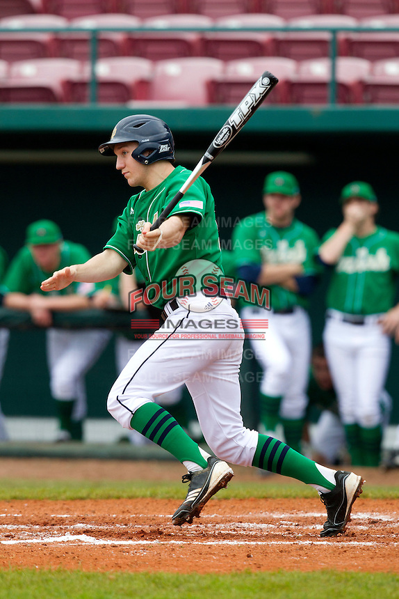 Notre Dame Fighting Irish outfielder Mac Hudgins #13 during a game against the Purdue Boilermakers at the Big Ten/Big East Challenge at Al Lang Stadium on February 19, 2012 in St. Petersburg, Florida.  (Mike Janes/Four Seam Images)