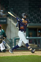 Jordan Qsar (25) of the Bowling Green Hot Rods follows through on his swing against the Fort Wayne TinCaps at Parkview Field on August 20, 2019 in Fort Wayne, Indiana. The Hot Rods defeated the TinCaps 6-5. (Brian Westerholt/Four Seam Images)