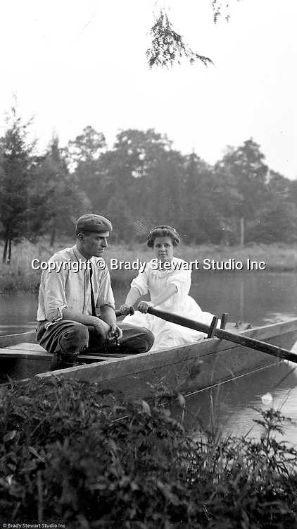 Fayette County:  Brady and Helen Stewart in a row boat on Youghiogheny Lake.  Stewart family went on vacation to Stewart Township to visit with family.
