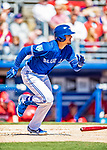 6 March 2019: Toronto Blue Jays top prospect infielder Cavan Biggio hits a solo home run during a Spring Training game against the Philadelphia Phillies at Dunedin Stadium in Dunedin, Florida. The Blue Jays defeated the Phillies 9-7 in Grapefruit League play. Mandatory Credit: Ed Wolfstein Photo *** RAW (NEF) Image File Available ***
