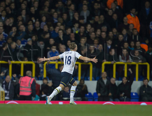 01.01.2015.  London, England. Barclays Premier League. Tottenham versus Chelsea. Tottenham Hotspur's Harry Kane celebrates his goal to make it 1-1 from a run across the top of the box.