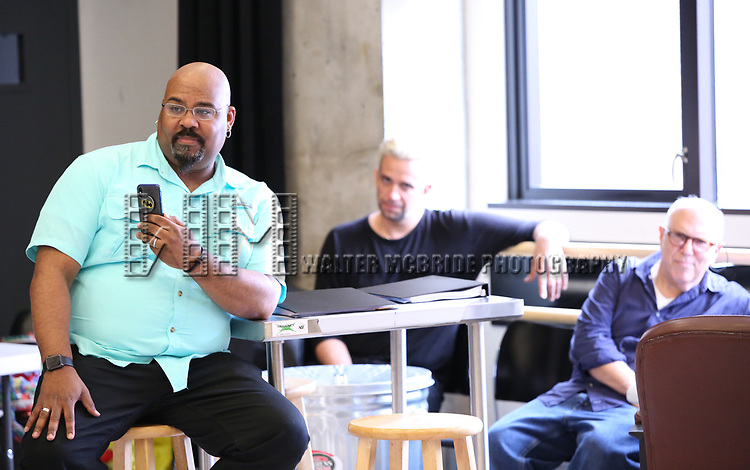 "James Monroe Iglehart, Nick Cordero and Lee Wilkof In Rehearsal with the Kennedy Center production of ""Little Shop of Horrors"" on October 11 2018 at Ballet Hispanica in New York City."