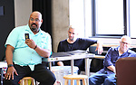 """James Monroe Iglehart, Nick Cordero and Lee Wilkof In Rehearsal with the Kennedy Center production of """"Little Shop of Horrors"""" on October 11 2018 at Ballet Hispanica in New York City."""