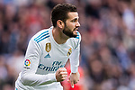 Nacho Fernandez of Real Madrid celebrates during the La Liga 2017-18 match between Real Madrid and Sevilla FC at Santiago Bernabeu Stadium on 09 December 2017 in Madrid, Spain. Photo by Diego Souto / Power Sport Images