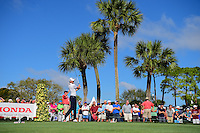 Daniel Berger (USA) watches his tee shot on 18 during round 2 of the Honda Classic, PGA National, Palm Beach Gardens, West Palm Beach, Florida, USA. 2/24/2017.<br /> Picture: Golffile | Ken Murray<br /> <br /> <br /> All photo usage must carry mandatory copyright credit (&copy; Golffile | Ken Murray)