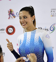 CALI - COLOMBIA - 18 - 09 - 2015: Anabella Mendoz, deportista de Argentina, medalla de oro durante la prueba de Figuras Obligatorias Mayores Damas, en el LX Campeonato Mundial de Patinaje Artistico, en el Velodromo Alcides Nieto Patiño de la ciudad de Cali. / Anabella Mendoz, sportwoman of Argentina, gold medal, during the Compulsory Figures test Senior Ladies, in the LX World Championships  Figure Skating, at the Alcides Nieto Patiño Velodrome in Cali City. Photo: VizzorImage / Luis Ramirez / Staff.