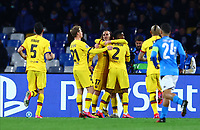 25th February 2020; Stadio San Paolo, Naples, Campania, Italy; UEFA Champions League Football, Napoli versus Barcelona; Antoine Griezmann of Barcelona  celebrates after scoring on 49 minutes for 1-1 with team mates