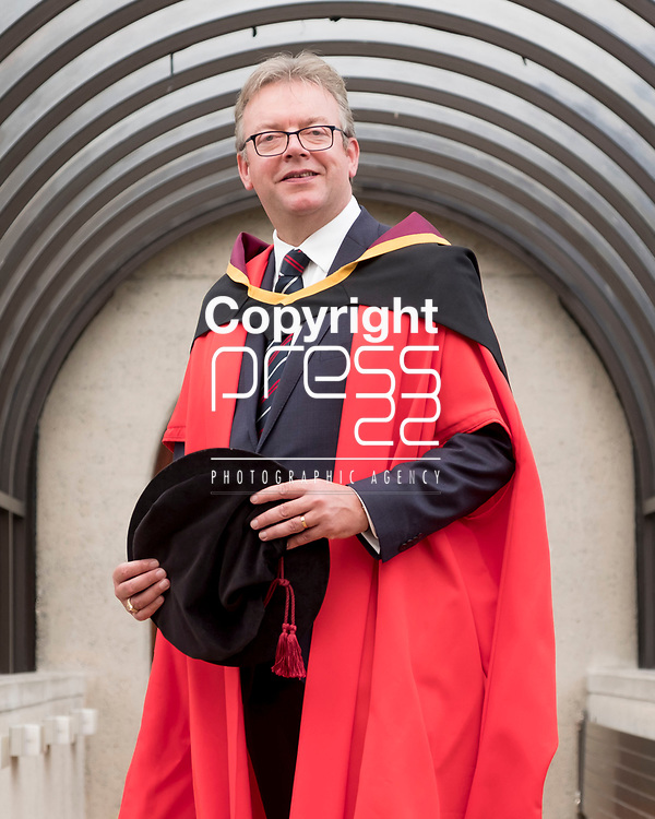 24/08/2017<br /> Dr Brian Keegan, Director of Public Policy and Taxation with Chartered Accountants Ireland  pictured at the University of Limerick where he was conferred with a doctorate in Tax and Decision Making.<br /> Pic: Don Moloney / Press 22