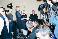 Media wait for the arrival of Republican presidential candidate and real estate mogul Donald Trump at a meeting of the New England Police Benevolent Association executive council at the Sheraton Portsmouth Harborside Hotel in Portsmouth, New Hampshire, USA. Later that evening, the group endorsed Trump for president. A small group of perhaps 20 Trump supporters stood outside the hotel and there was a larger group of anti-Trump protesters, mostly across the street. One of the protest organizers estimated that there were around 230 protesters gathered.Many protesters expressed disagreement with Trump's recent statements that he would ban all Muslims from entering the country. Trump brought up the recent shooting in San Berdardino, Calif., at the meeting.