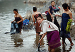 Villagers bathe and wash cloths in the Mekong River at Ban Khe, a small village north of Pak Lai, Laos on Friday, March 7, 2008.  (Star-Telegram/Khampha Bouaphanh).**NO SALES, NO MAGS**