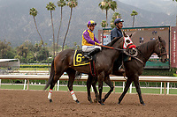 ARCADIA, CA  JUNE 16: #6 Ollie's Candy, ridden by Kent Desormeaux, in the post parade of the Summertime Oaks (Grade ll) on June 16, 2018 at Santa Anita Park in Arcadia, CA. (Photo by Casey Phillips/Eclipse Sportswire/Getty Images)