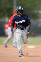 Milwaukee Brewers outfielder Troy Stokes (30) during an Instructional League game against the Cincinnati Reds on October 6, 2014 at Maryvale Baseball Park Training Complex in Phoenix, Arizona.  (Mike Janes/Four Seam Images)