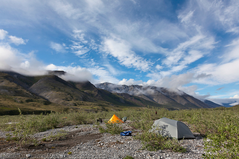 Back country camp along the Marsh Fork of the Canning River in the Arctic National Wildlife Refuge, Brooks Range mountains, Alaska.