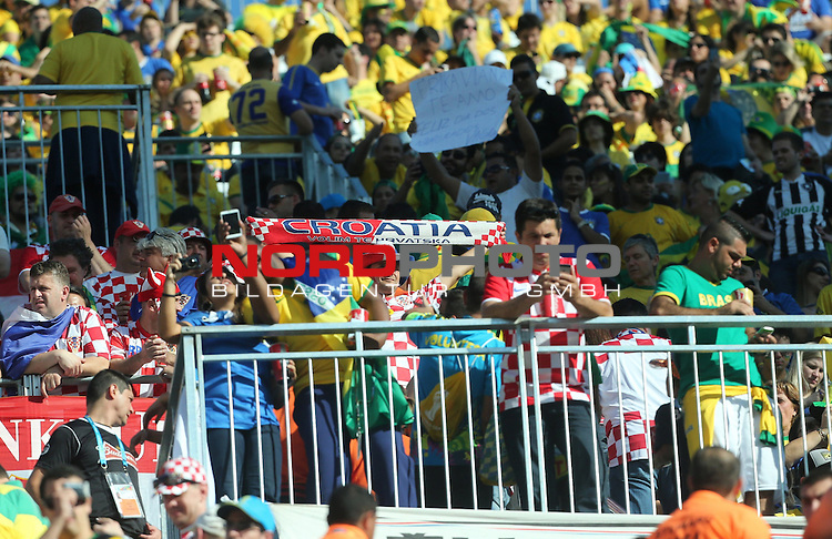 2014 Fifa World Cup opening ceremony at the Arena Corinthians in Sao Paulo. Croatian fans<br /> <br /> Foto &copy;  nph / PIXSELL / Sajin Strukic