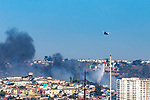 Helicopter Putting Out Fire In City, Valparaiso